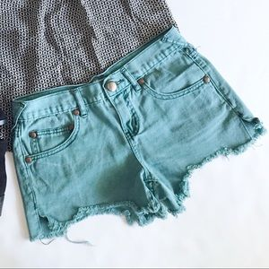 Free People Ripped Denim Cut Off Shorts